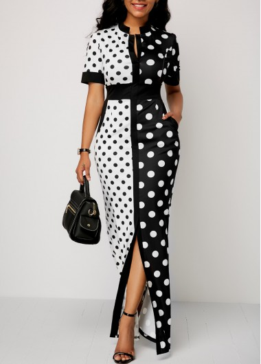 Front Slit Polka Dot Print Maxi Dress