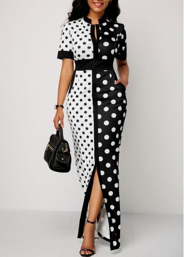 Front Slit Polka Dot Print Maxi Dress