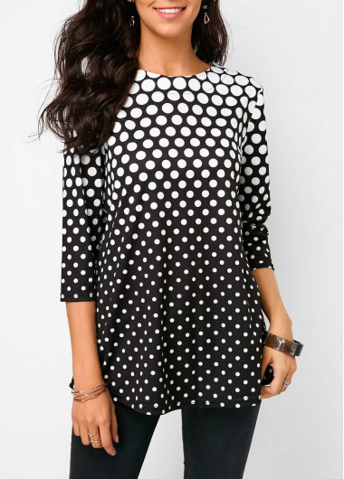 Black Three Quarter Sleeve Polka Dot Print Blouse