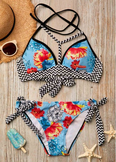 Tie Back Padded Printed Swimwear Bra and Panty