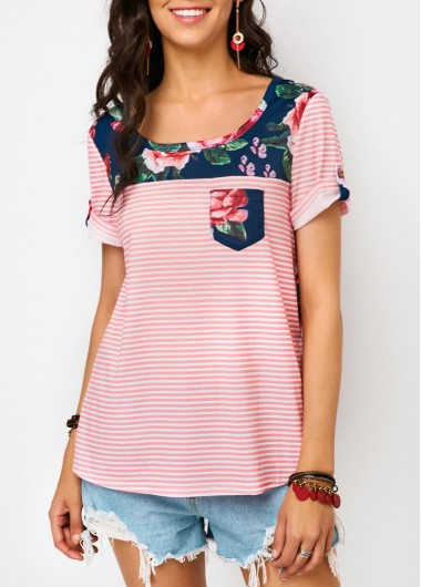Roll Sleeve Flower Print T Shirt