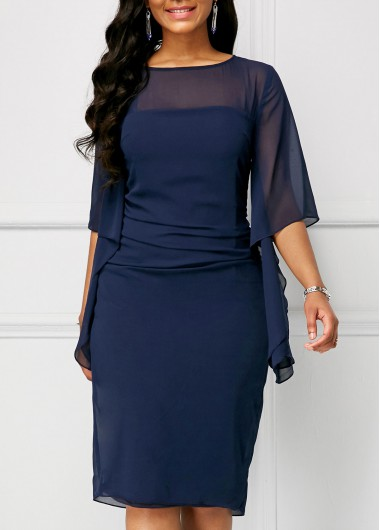 Half Sleeve Navy Blue Chiffon Overlay Dress