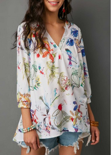 Printed Three Quarter Sleeve Button Neck Blouse