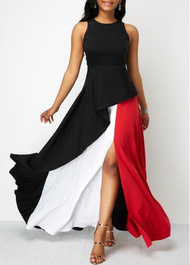 Sleeveless Round Neck Front Slit Maxi Dress