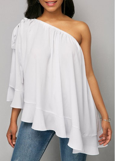 Tie Shoulder White Ruffle Hem Blouse