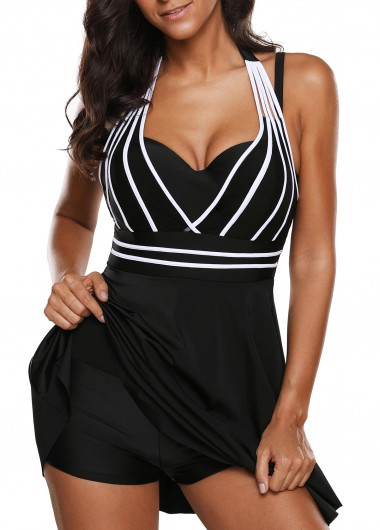 Cutout Back Halter Neck Black One Piece Swimdress