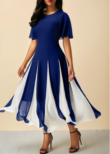 Butterfly Sleeve Navy Round Neck Dress