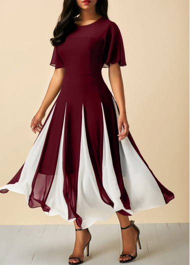 Short Sleeve Wine Red Round Neck Chiffon Dress