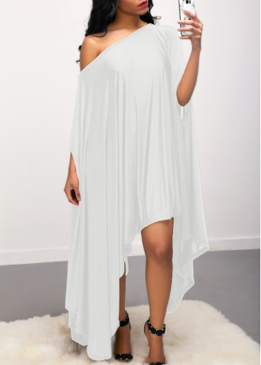 Skew Neck Batwing Sleeve Asymmetric Hem White Dress