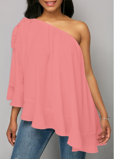 Ruffle Hem Solid Pink One Shoulder Blouse