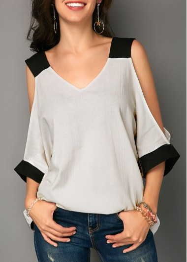 V Neck Cold Shoulder Patchwork T Shirt