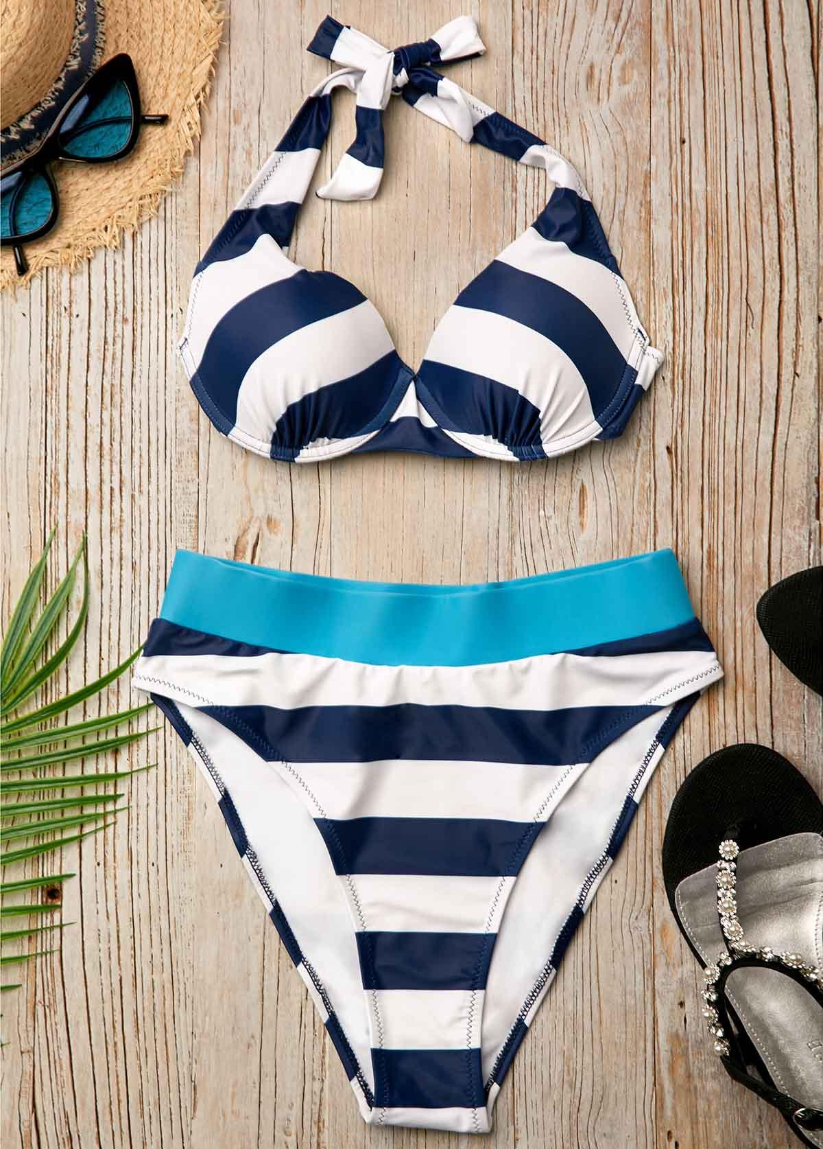 Striped Navy Blue High Waist Two Piece Bikini