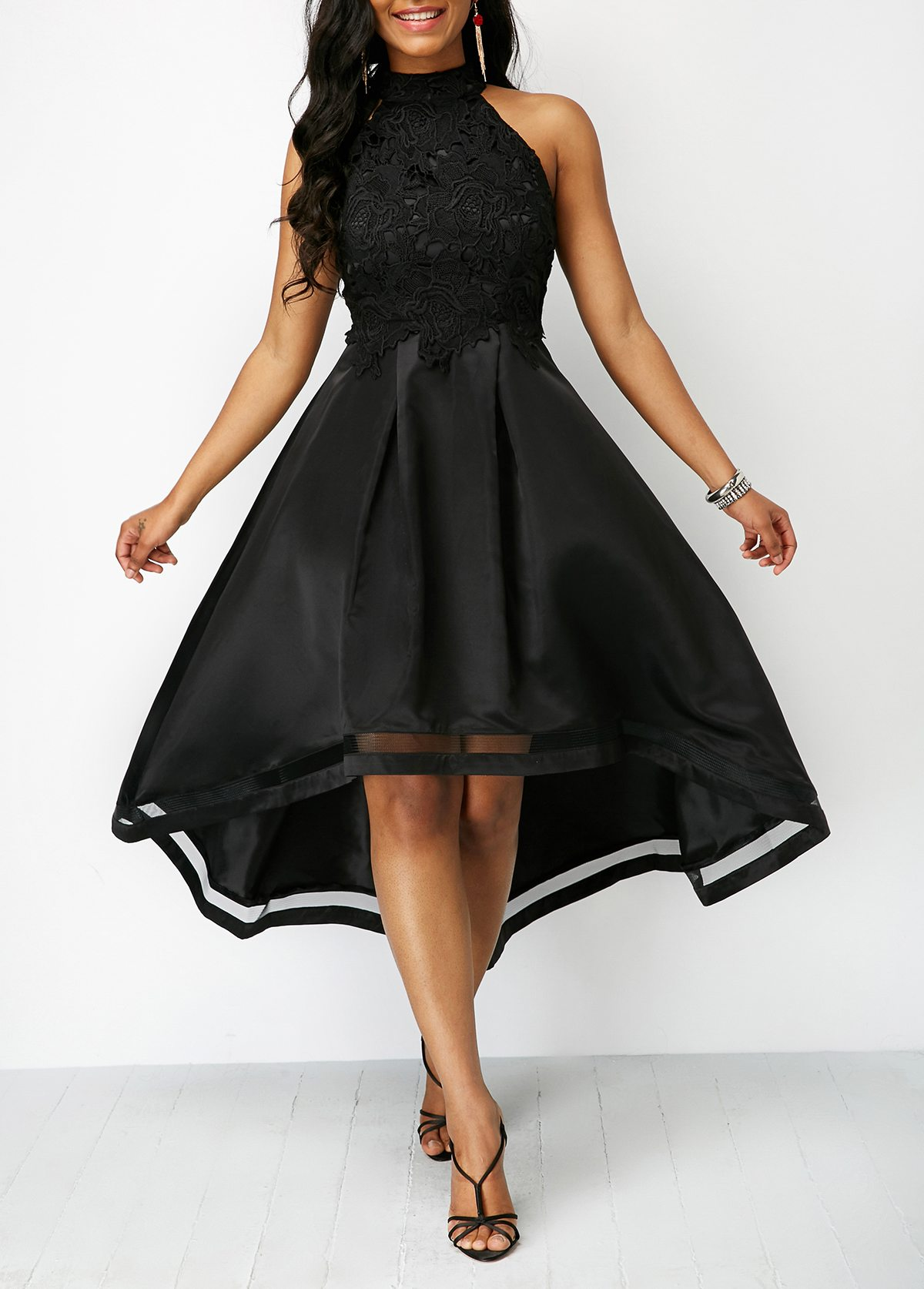 Black Lace Panel Sleeveless High Low Dress