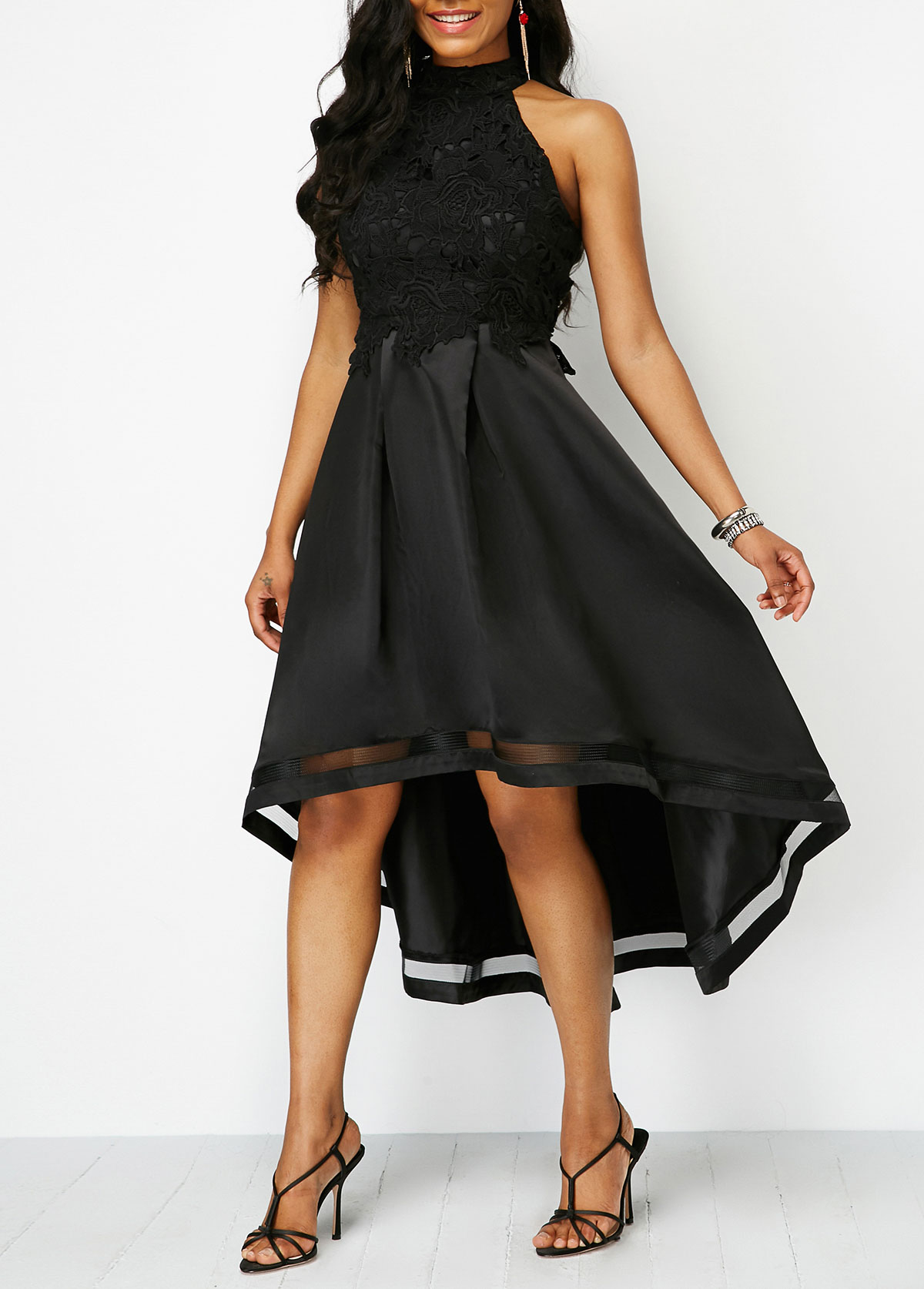 Black Lace Panel Sleeveless High Low Dress. AddThis Sharing Buttons. Share  to Facebook Share to Pinterest 37b24c997