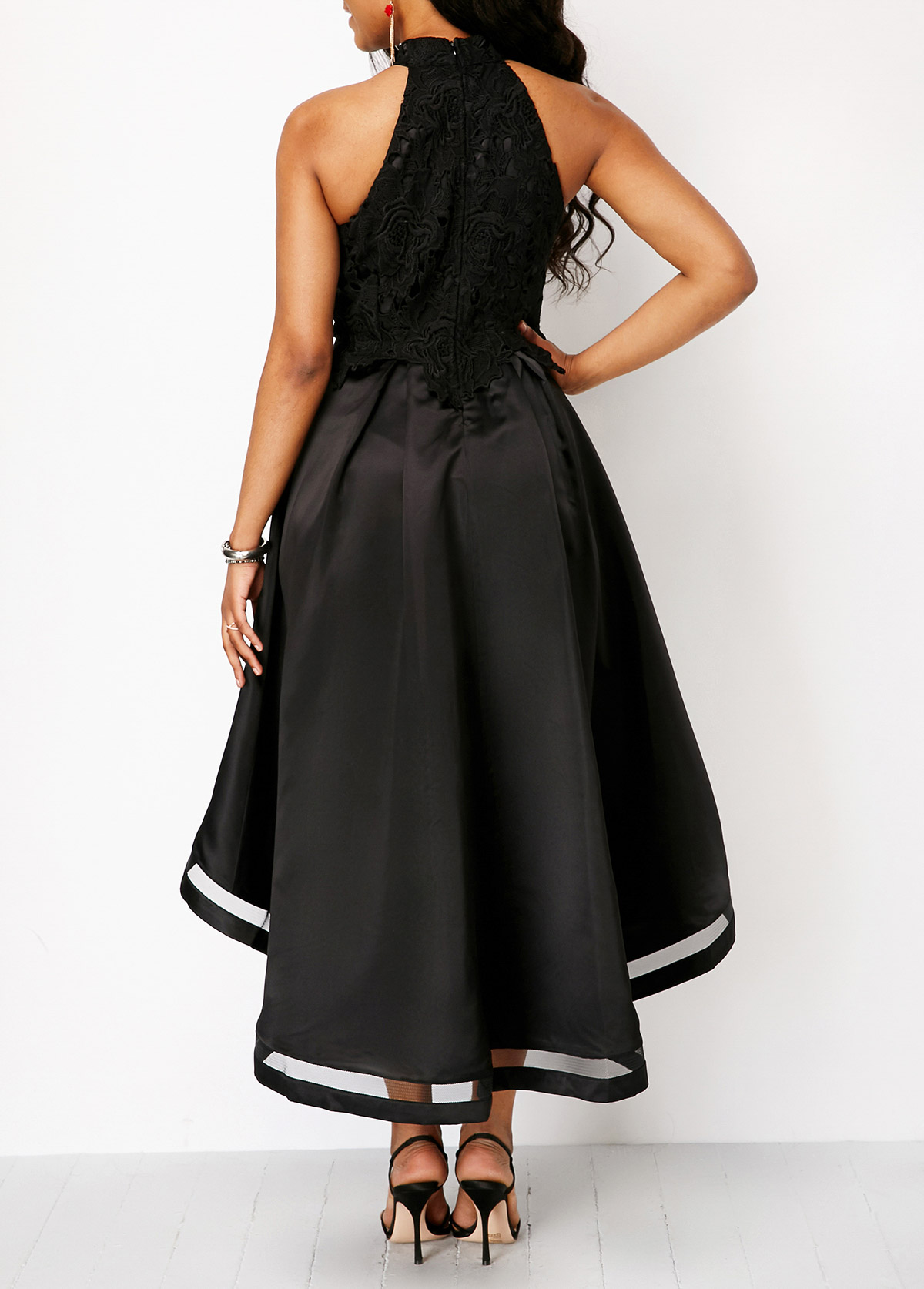 d67f5b269a4 Black Lace Panel Sleeveless High Low Dress. AddThis Sharing Buttons. Share  to Facebook Share to Pinterest