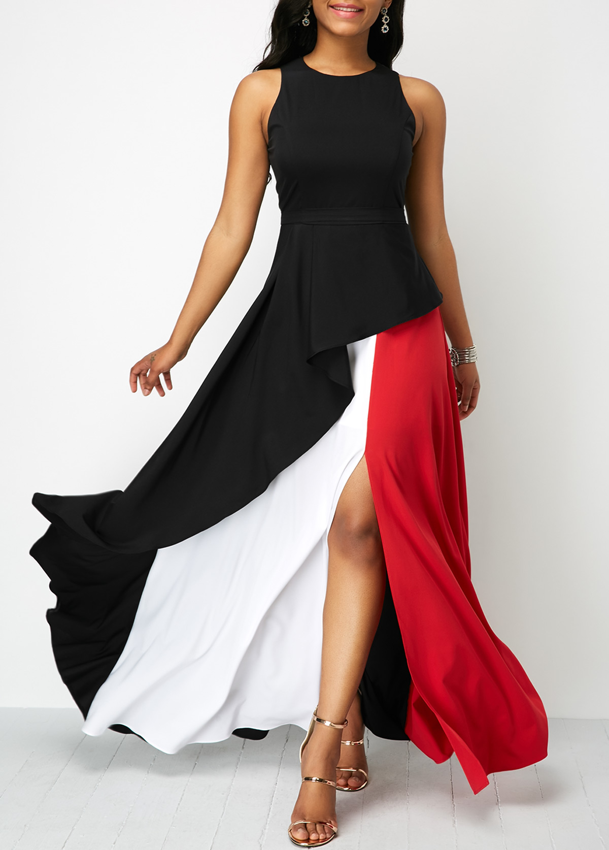 ROTITA Sleeveless Round Neck Front Slit Maxi Dress
