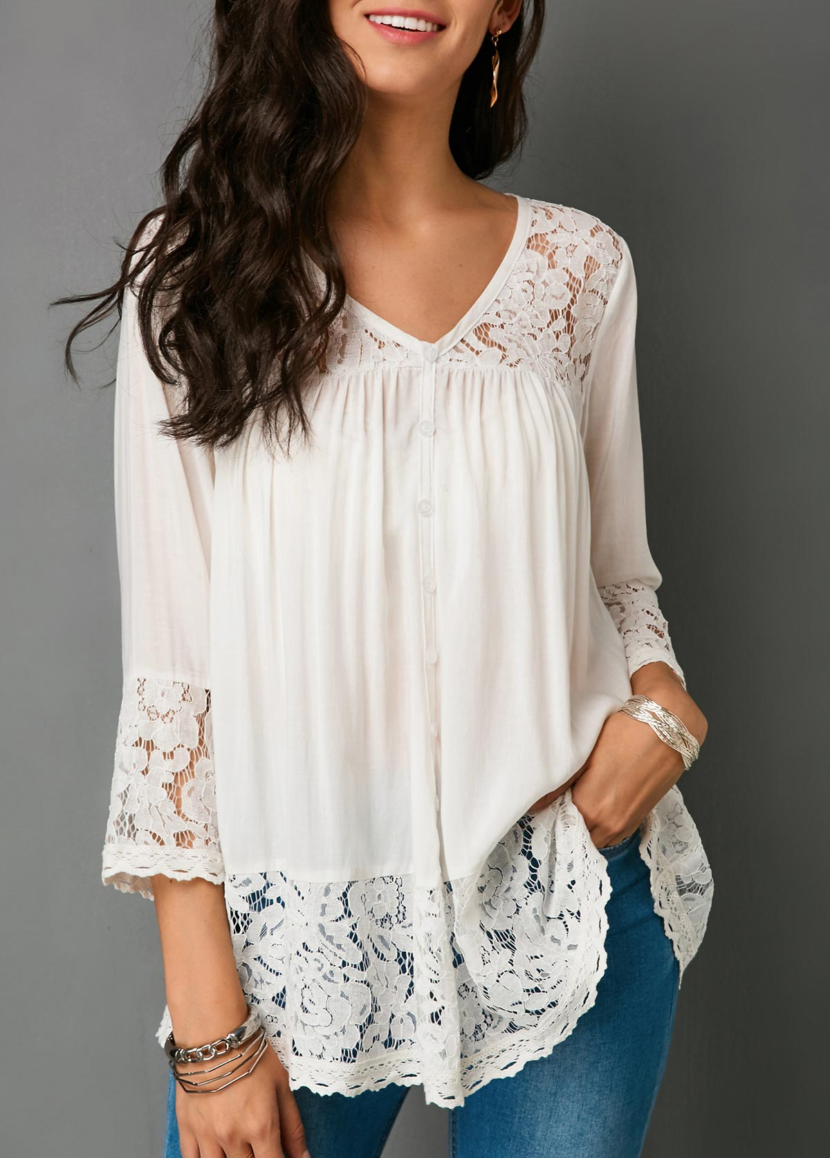 Button Up Lace Patchwork White Blouse