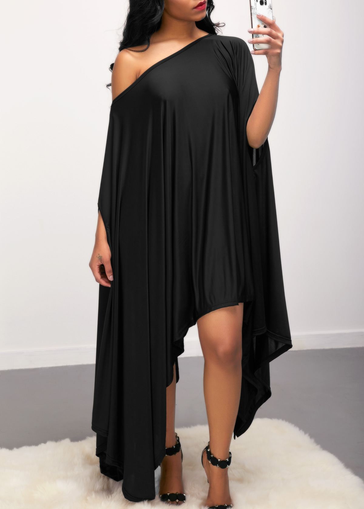 Skew Neck Batwing Sleeve Asymmetric Hem Black Dress