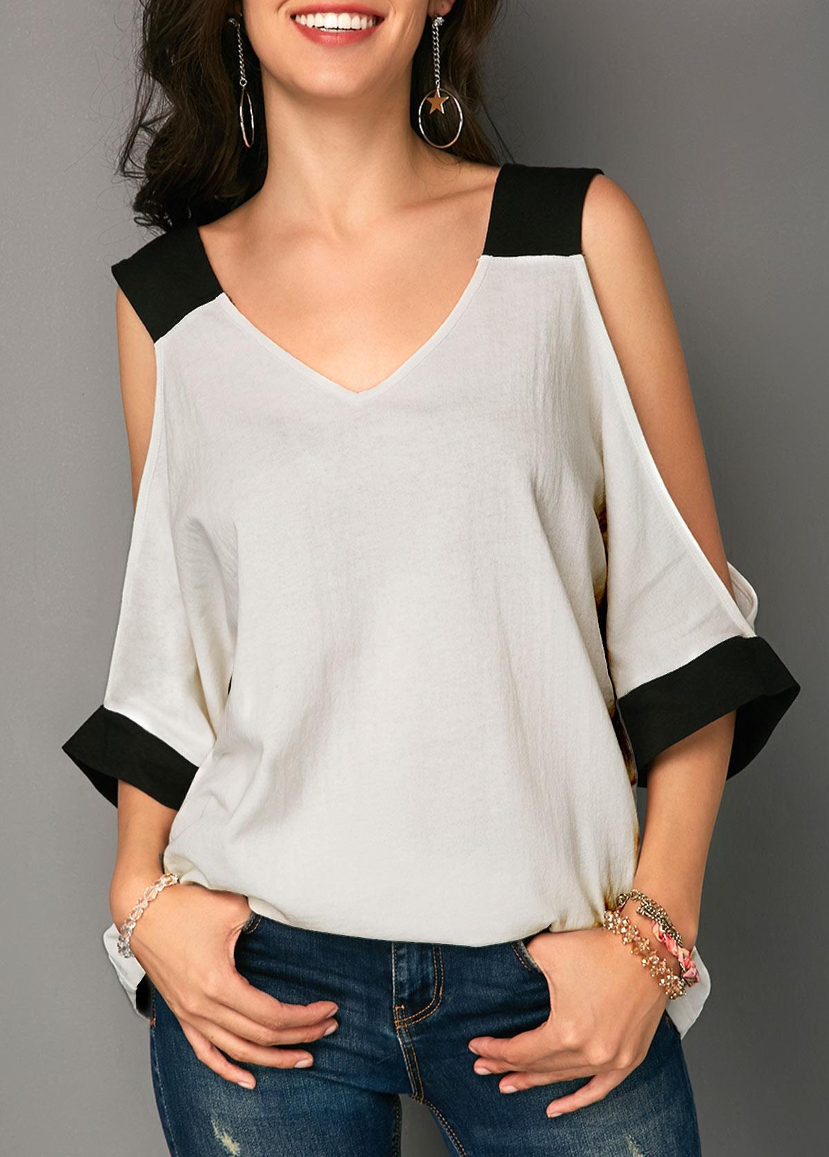 ROTITA V Neck Cold Shoulder Patchwork T Shirt