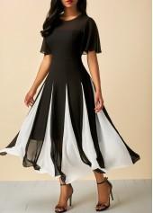 Black-Short-Sleeve-Round-Neck-Patchwork-Dress