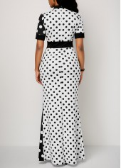 wholesale Front Slit Polka Dot Print Maxi Dress
