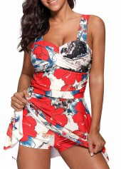 Wide Strap Cutout Back Printed Swimdress and Shorts