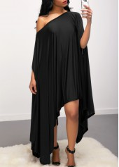 Skew-Neck-Batwing-Sleeve-Asymmetric-Hem-Black-Dress