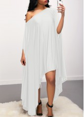 Skew-Neck-Batwing-Sleeve-Asymmetric-Hem-White-Dress