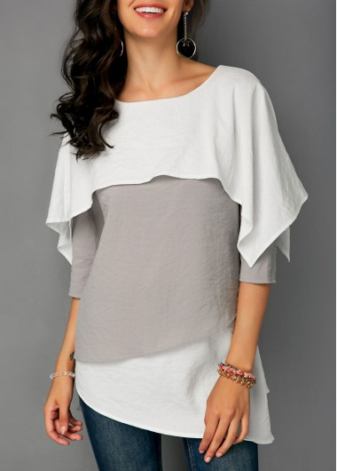 Asymmetric Hem Three Quarter Sleeve Overlay Blouse