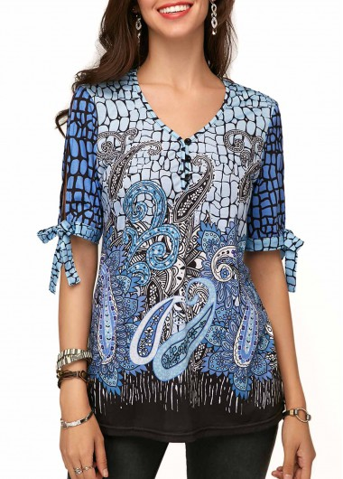 Tie Sleeve V Neck Printed Blouse