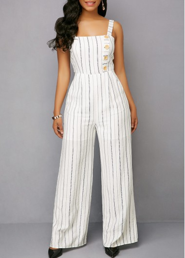 Bowknot Back Striped Button Detail White Jumpsuit