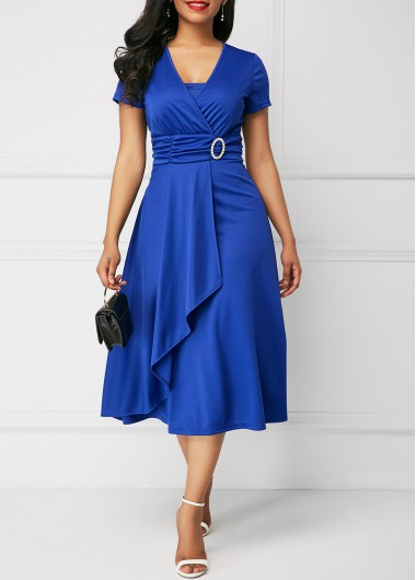 Short Sleeve Royal Blue Asymmetric Hem Dress