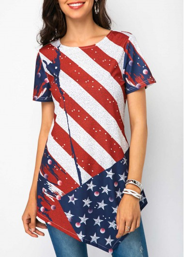 Short Sleeve Star and Stripe Print T Shirt