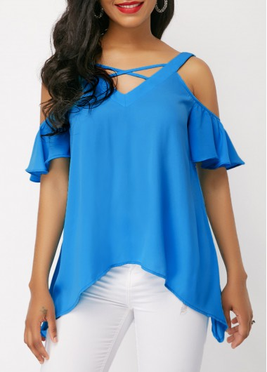 Criss Cross Cold Shoulder Blue Blouse