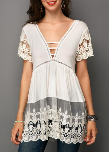 Strappy Front Lace Panel White Blouse