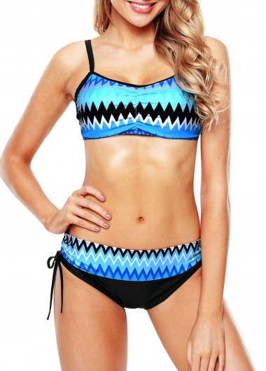 Printed Drawstring Side Spaghetti Strap Bikini Set