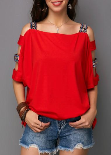 Red Ladder Cutout Sleeve T Shirt