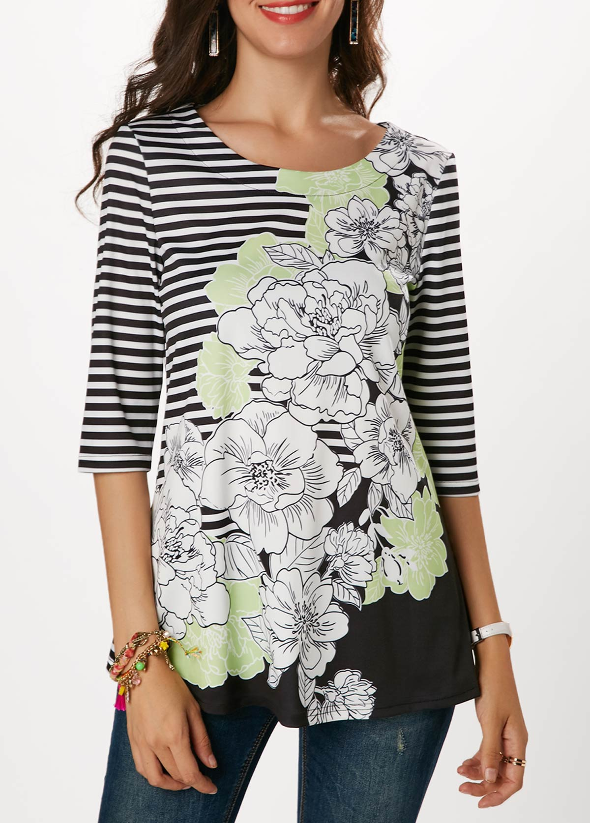 ROTITA Round Neck Stripe and Flower Print Blouse