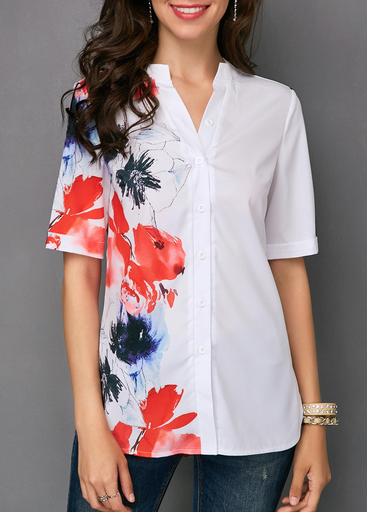 Button Front Curved Hem Flower Print White Blouse