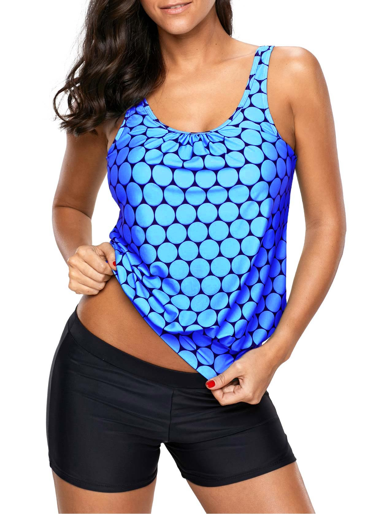 Blue Scoop Neck Printed Tankini Top and Shorts