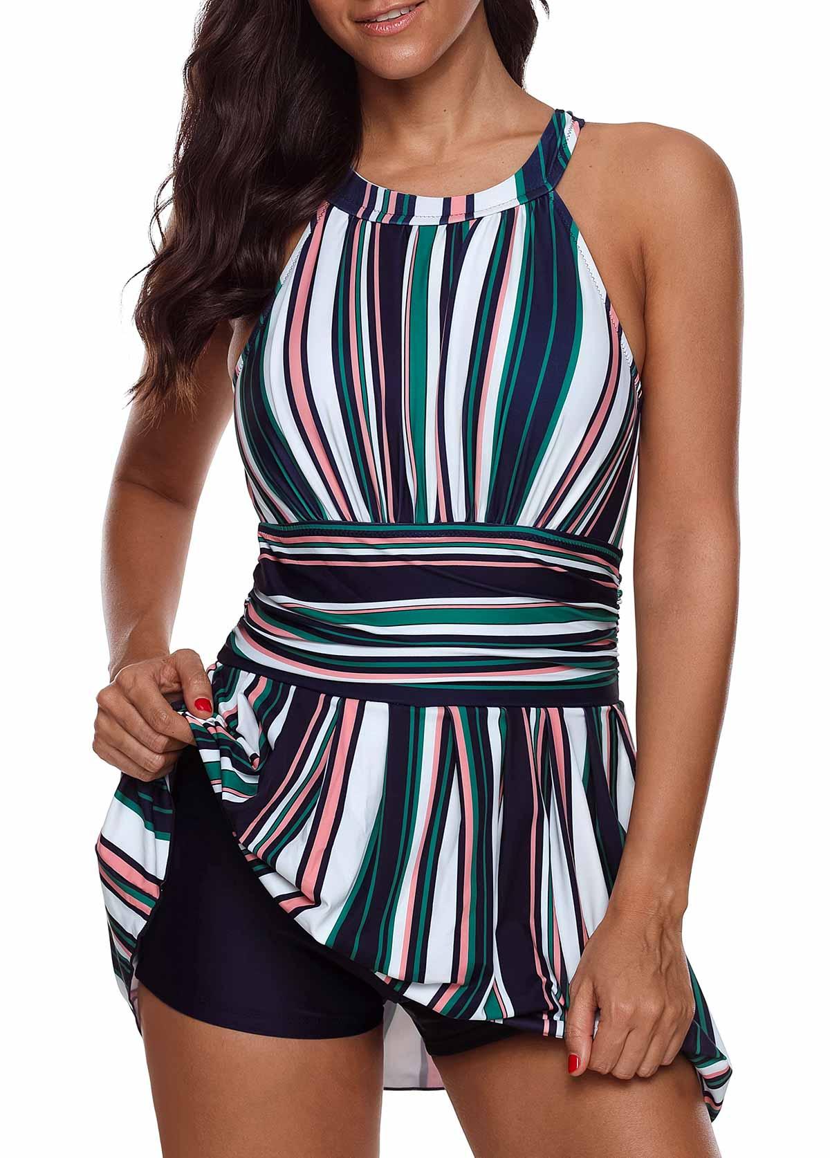 Keyhole Back Stripe Print Swimdress and Shorts