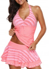 Printed Halter Neck Tankini Top and Pantskirt