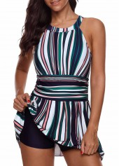 Keyhole Back Stripe Print Swimdress and Shorts