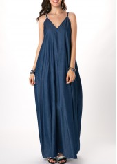 V-Back-Spaghetti-Strap-Denim-Blue-Maxi-Dress
