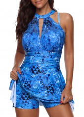 Printed H Back Blue Swimdress and Shorts