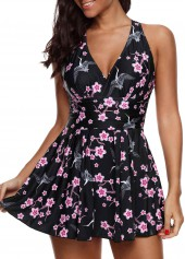 Floral Print Strappy Back Swimdress and Shorts