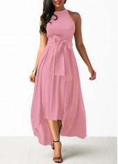 Pink-Cardigan-and-High-Low-Belted-Dress