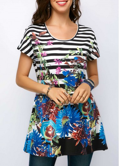 Printed Short Sleeve Round Neck Blouse