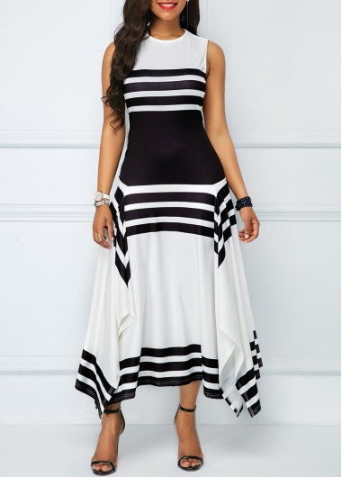 Stripe Print Asymmetric Hem Sleeveless Midi Dress