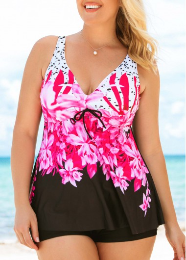 55b7f3f1629 Plus Size Flower Print Tankini Top and Shorts